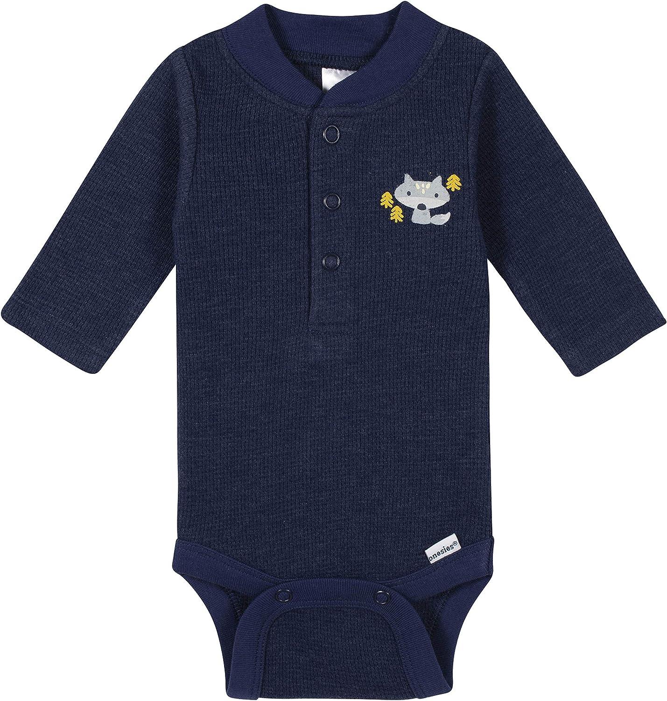 GERBER Baby Boys 3-Pack Long Sleeve Thermal Onesies Bodysuits
