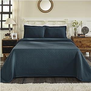 Superior 100% Cotton Basket Weave Bedspread with Shams, All-Season Premium Cotton Matelassé Jacquard Bedding, Quilted-look Geometric Basket Pattern - King, Deep Sea