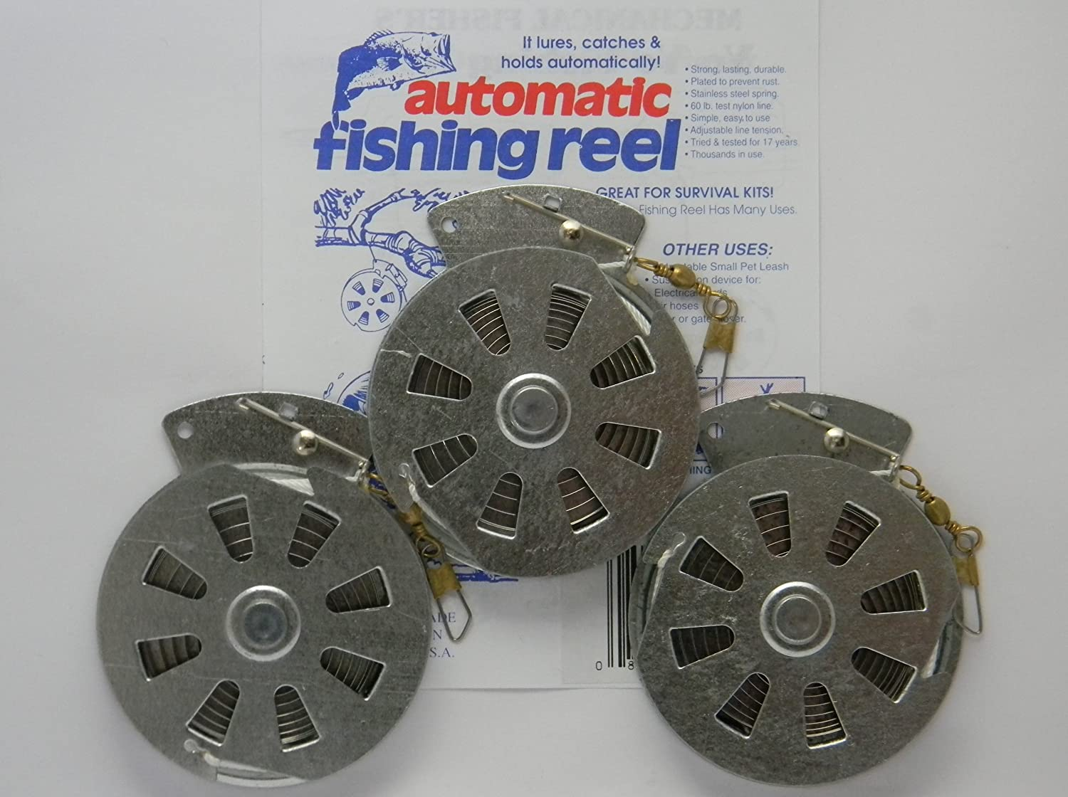 3 Mechanical Fisher's Yo-Yo Automatic Fishing Reels - Package of 3 Reels -  Yoyo Fish Trap -(STANDARD WIRE TRIGGER MODEL - Same Reels sold by Cabela's,