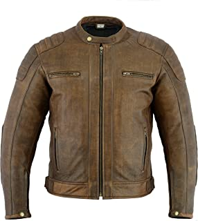 Texpeed Brown Distressed Cowhide Leather Motorcycle Motorbike Jacket - M to 7XL