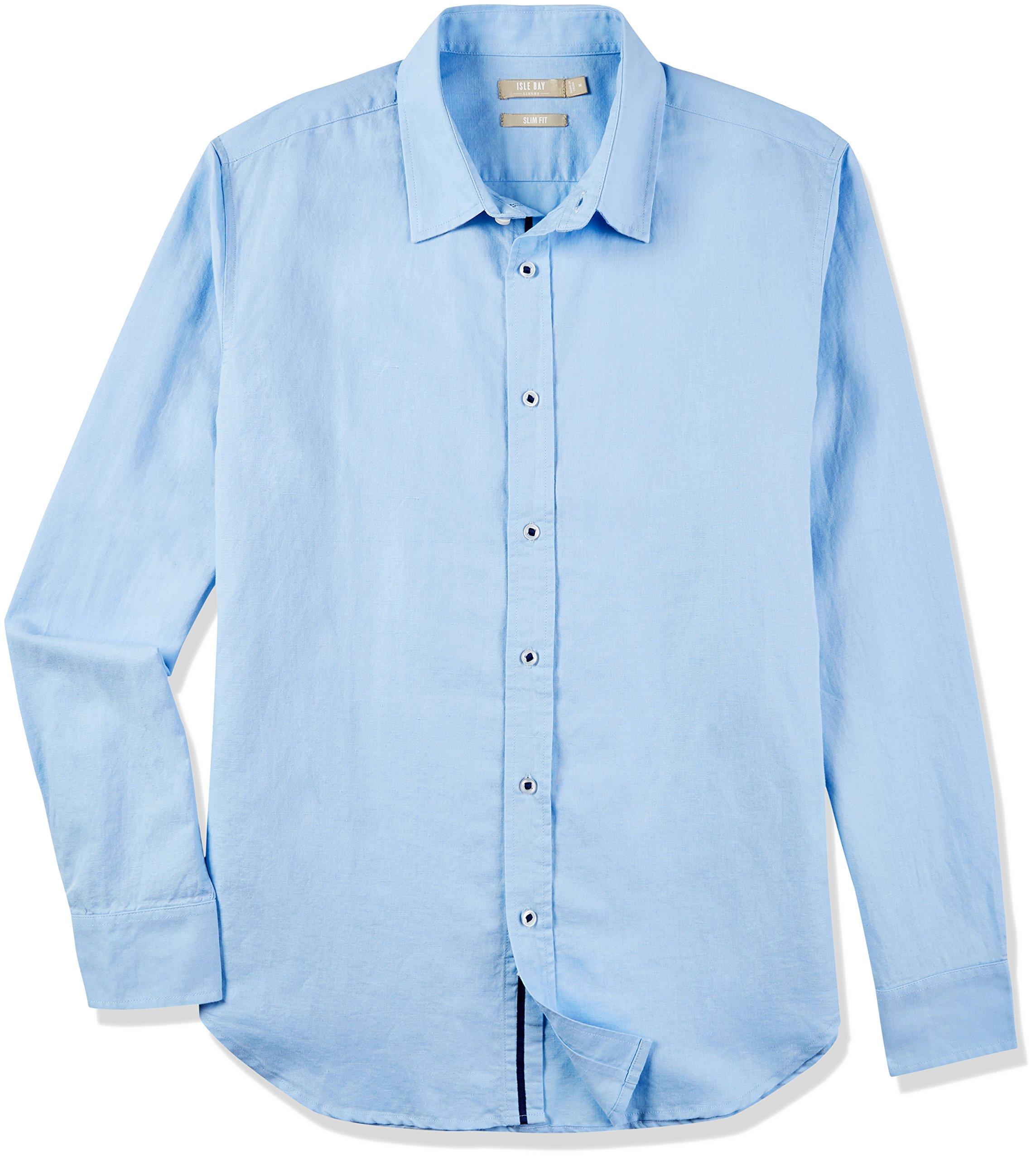 Isle Bay Linens Men's Slim-Fit Long-Sleeve Webbed-Placket Woven Shirt Sky Blue Large