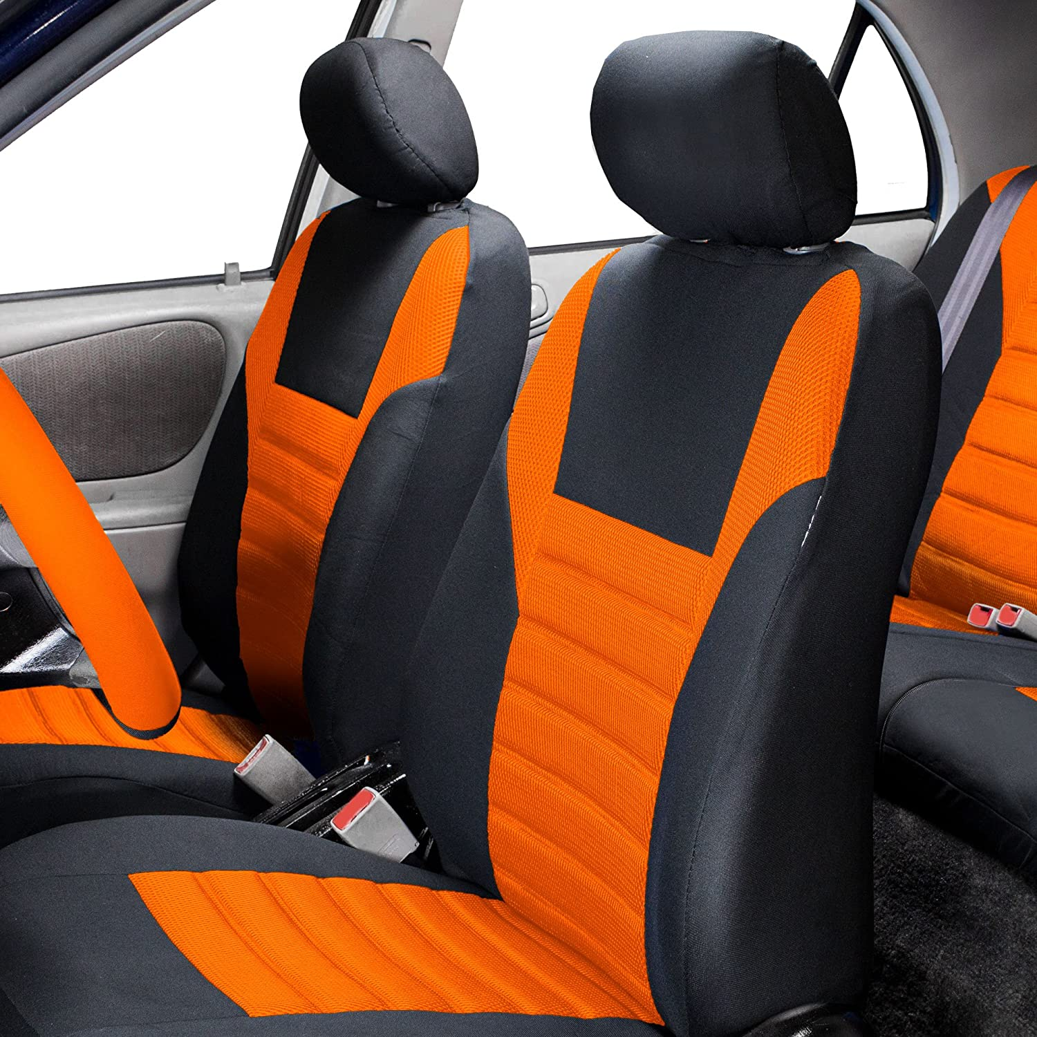 Solid Black Color- Fit Most Car Truck or Van FH Group FB068013 Premium 3D Air Mesh Split Bench Seat Cover w Gift SUV
