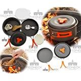Redneck Convent Outdoor Camping Cookware Set - Compact Camp Cooking Backpack Mess Kit - Campfire Pot, Pan, Utensils in Drawstring Bag