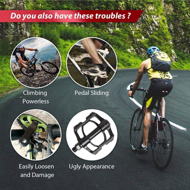 Pedales para bicicleta de monta/ña bicicleta de carreras pedales de metal MTB con plataforma de aleaci/ón de aluminio pedales de trekking con di/ámetro de ejes 9//16 pulgadas antideslizantes