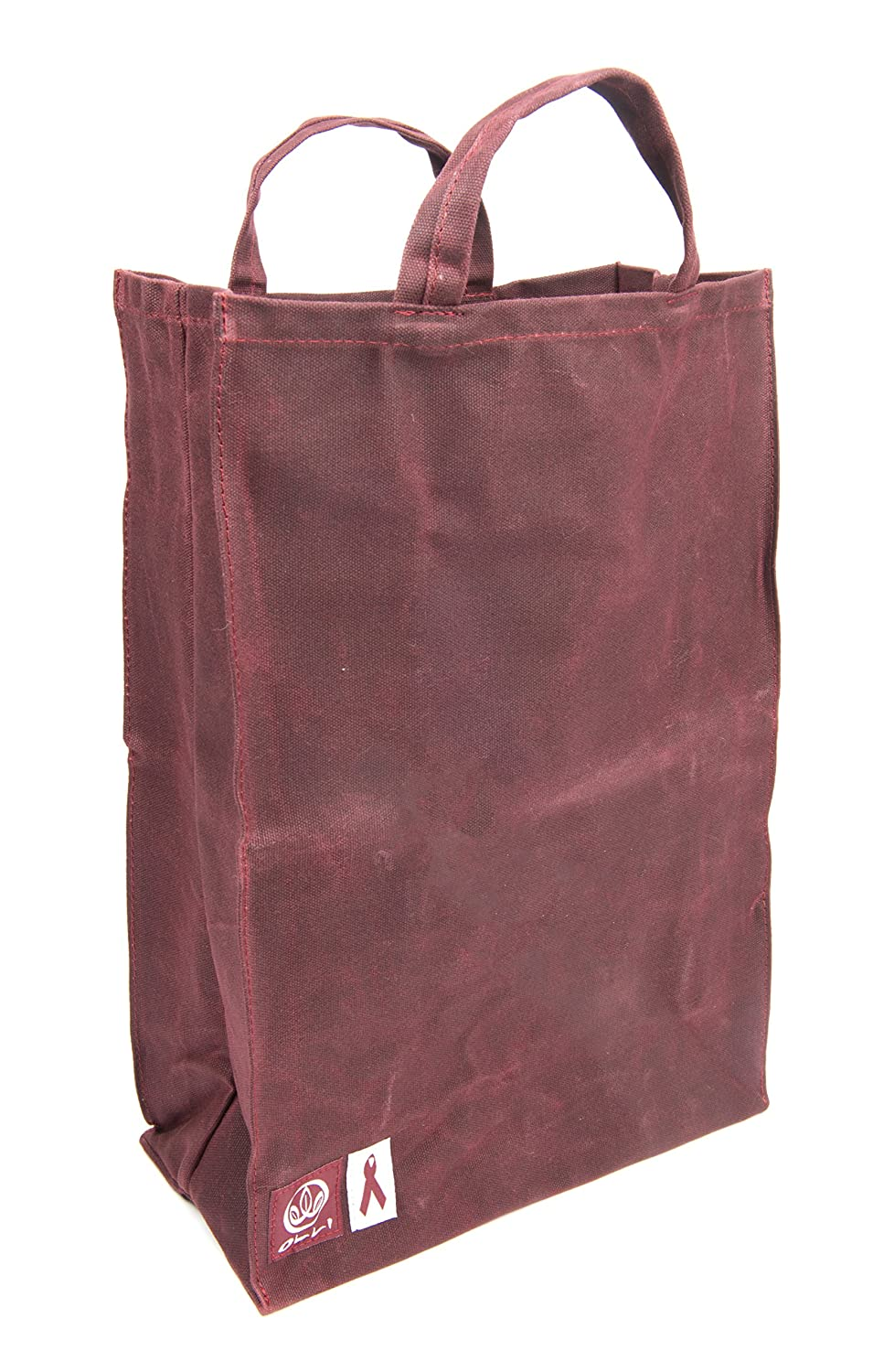 25cb575562a5 Olli Reusable Waxed Cotton Canvas Grocery Tote Bags - Organic and Vegan  Shopping Bags Burgundy