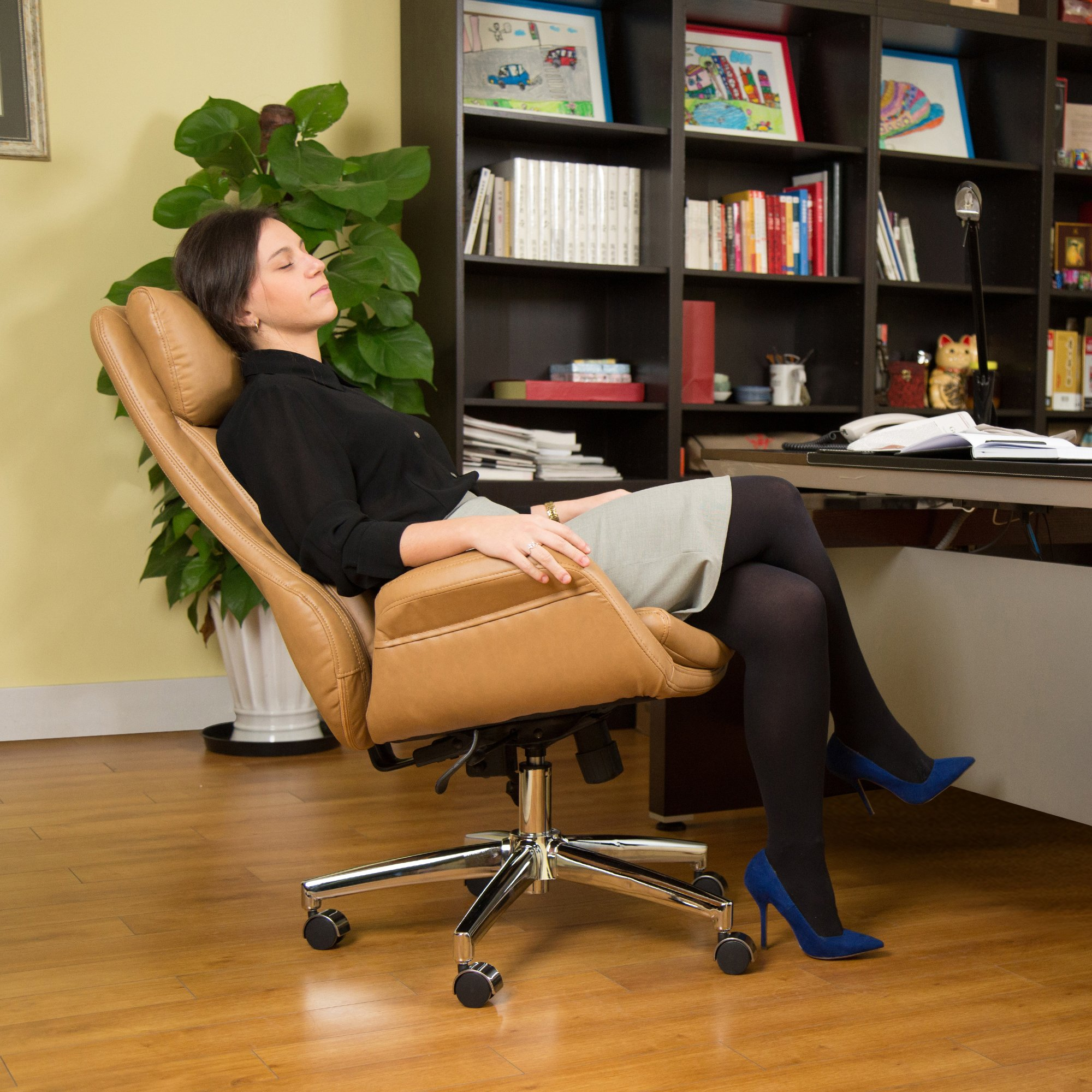 Glitzhome Adjustable High-Back Office Chair Executive Swivel Chair PU Leather, Camel by Glitzhome