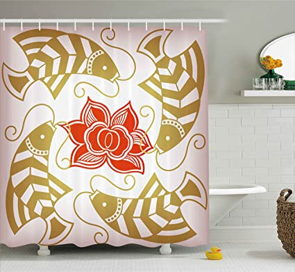 Asian Decor Shower Curtain By Ambesonne Feng Shui Japanese Chinese Themed Fish With Flower