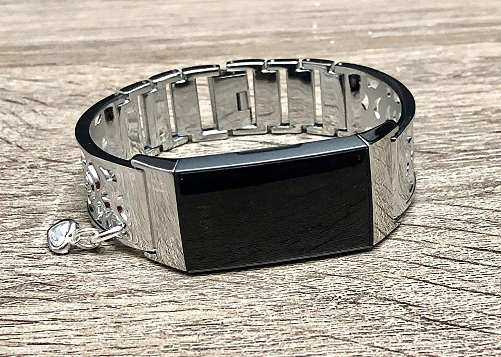 Elegant Silver Bracelet for Fitbit Charge 3 Band Women Jewelry Handmade Flowers Design Fitbit Charge 3 Bracelet with Crystal Heart Charm Medallion Luxury Fitbit Charge 3 Bangle Band