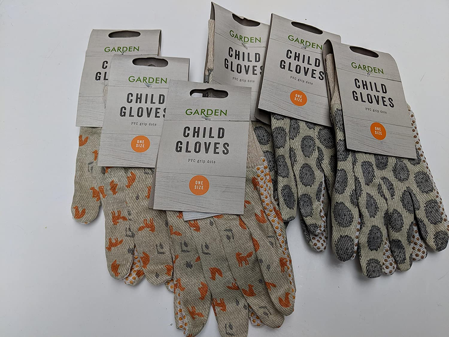6 x Childrens Garden Gardening Gloves - Hedgehog & Fox Bulk Buy School Boy Girl unbranded