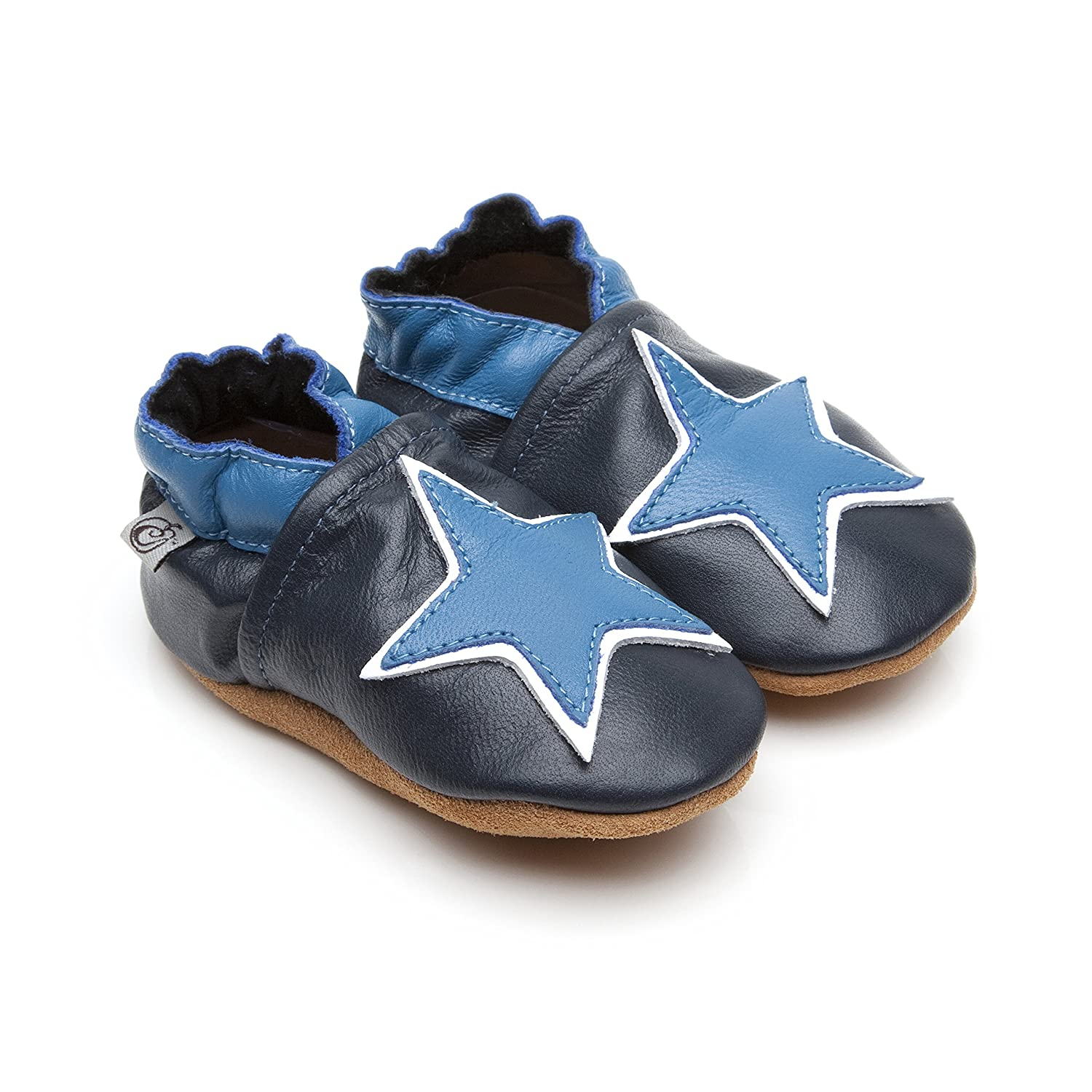 Soft Leather Baby Shoes Blue Star 6 12 Months Amazon Baby