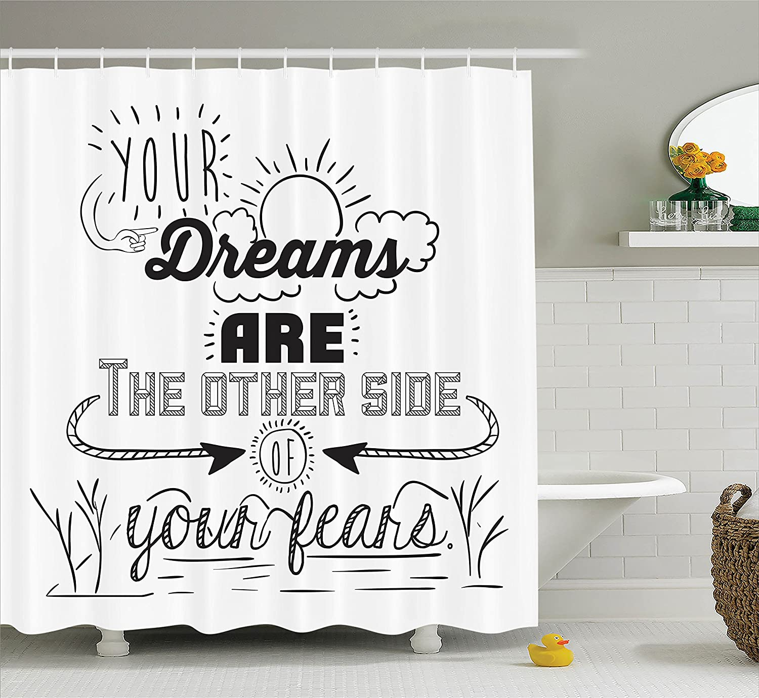 Quotes Decor Shower Curtain Set By Ambesonne