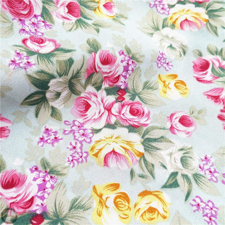 20 x 20 FidgetKute Shabby Chic Rose Floral Printed Prints Fabric Vintage Cotton Like Vintage Craft Sky Blue Square