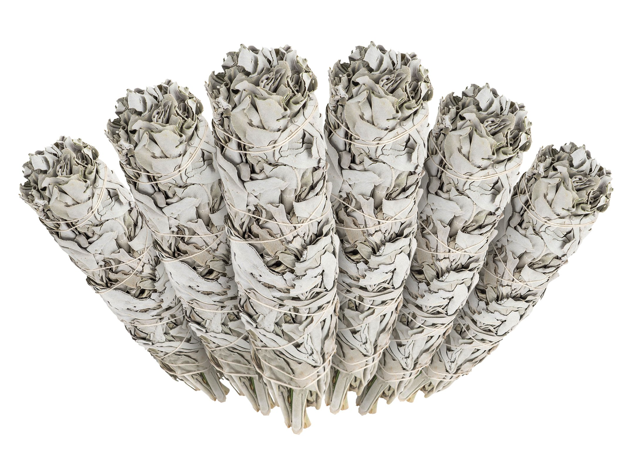 6 Pack - Premium California White Sage Smudge Sticks, Each Stick Approximately 4 Inches Long - Made in USA