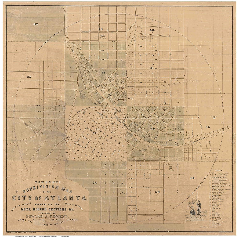 City Map Of Atlanta Georgia.Amazon Com Atlanta Georgia 1850 City Map By E A Vincent