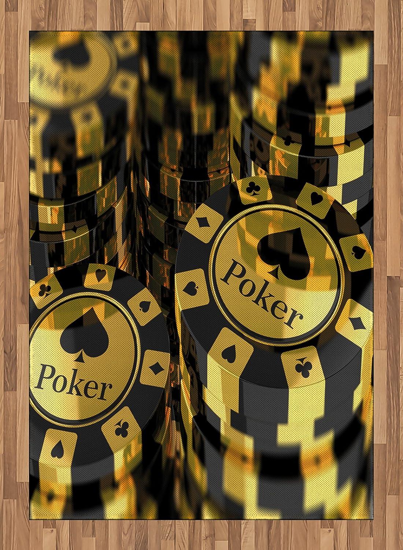Torneo de póquer Zona Alfombra por lunarable, Oro y Negro fichas de Poker en Juego Club Moneda Pila Apuesta Impresión, Plano Tejido Accent Alfombra para ...