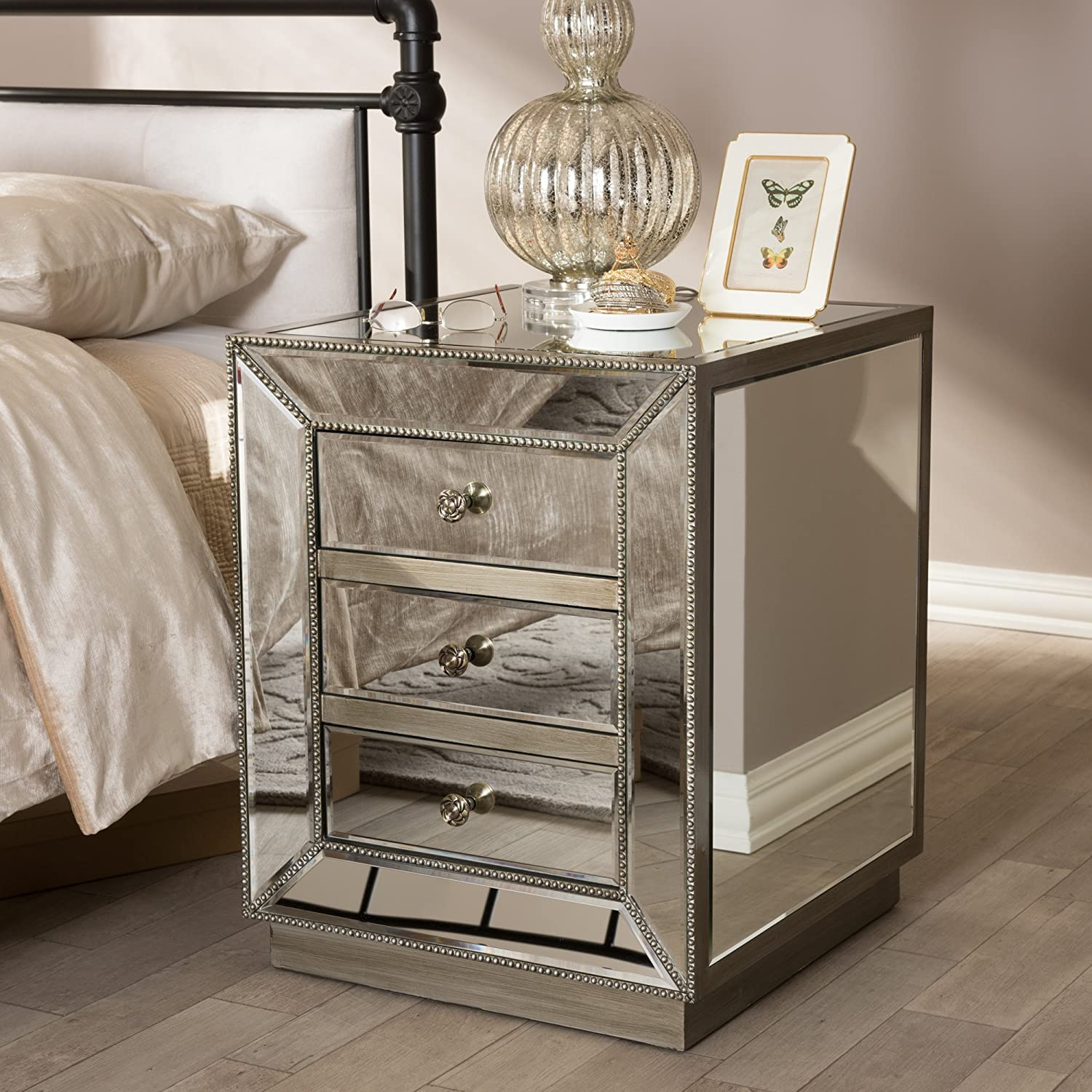 Amazon Baxton Studio Currin Contemporary Mirrored 3 Drawer