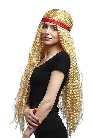WIG ME UP ® - 90783-ZA02A Peluca señoras Carnaval Venda roja Hippie Ondulada Rubia