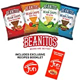 Beanitos Chips Variety Pack 8 Bags 4 Flavors (2 Original Black Bean, 2 Chipotle BBQ, 2 Nacho Cheese, 2 Restaurant Style) All Natural Gluten Free High Fiber Vegan No Preservatives Certified Kosher (8) Includes Exclusive Simples Recipes With Chips Booklet By Custom Varietea (1.2 oz Each)