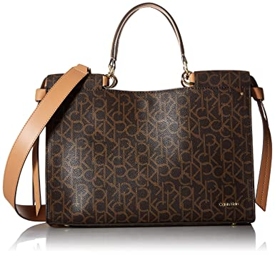 9a11d7b0da Calvin Klein womens Calvin Klein Callie Monogram Knotted Medium Satchel,  brown/khaki/buff