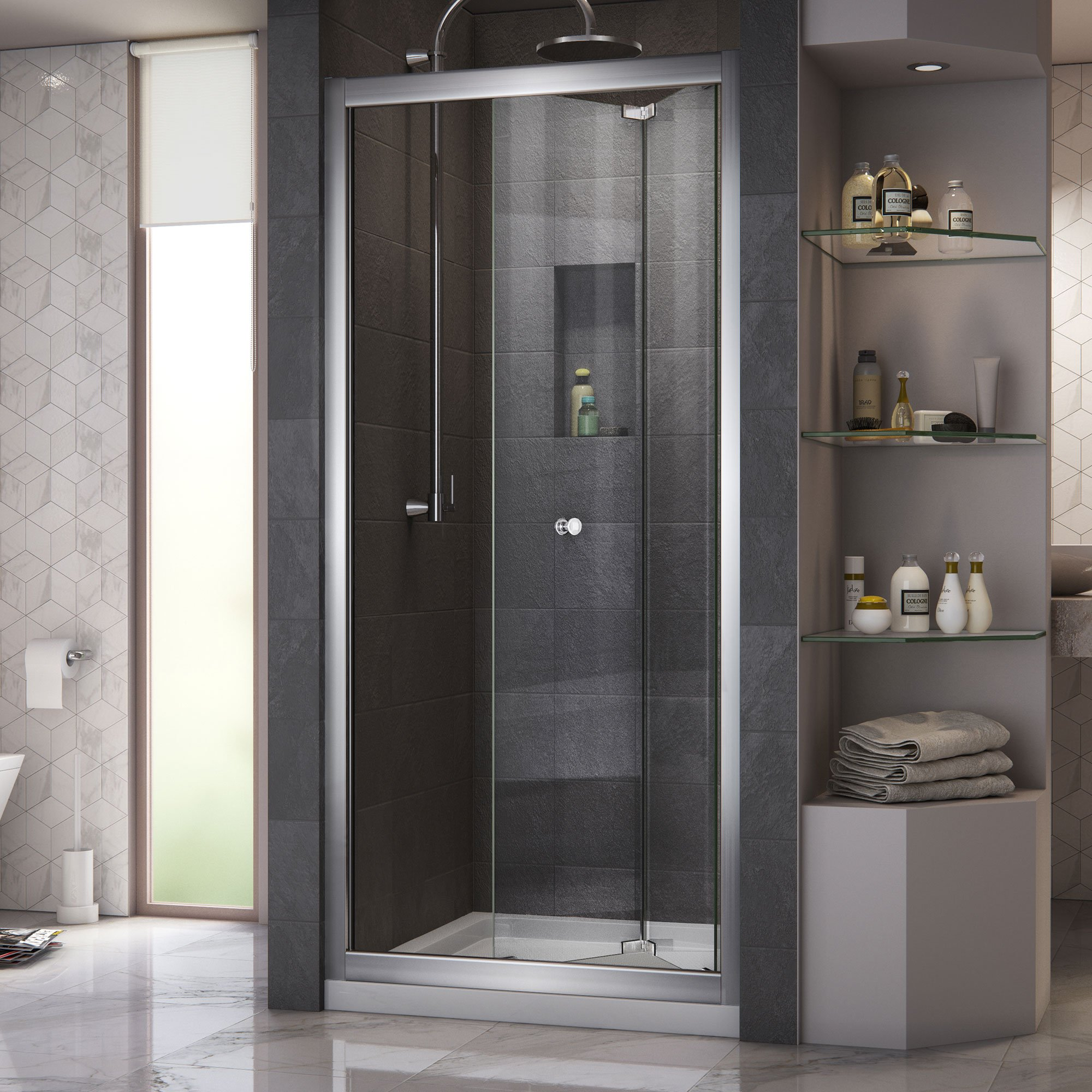 DreamLine Butterfly 34-35 1/2 in. Width, Frameless Bi-Fold Shower Door, 1/4'' Glass, Chrome Finish by DreamLine (Image #7)