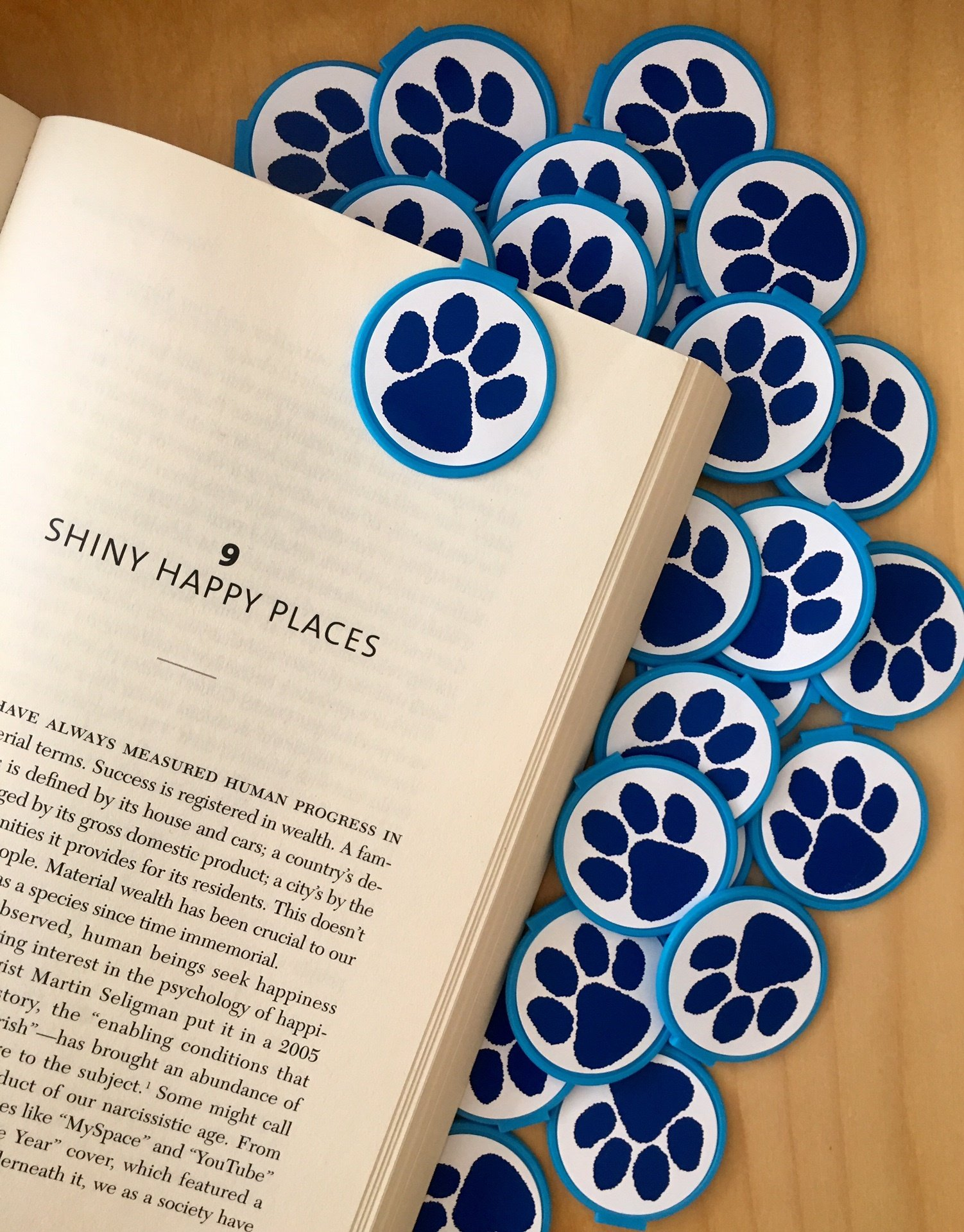 BLUE Spirit Paw Print School Mascot Bookmarks - 36 Bulk Bookmarks for Kids girl's boys- School Student Incentives – Library incentives – Reading Incentives - Classroom Reading Awards!