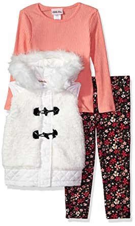 cf6dcca5c Amazon.com  Little Lass Girls  3 Pc Sherpa Puffer Vest Set  Clothing