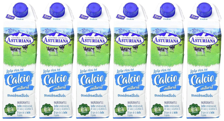 Central Lechera Asturiana Leche Calcio Semidesnatada - Paquete de 6 x 1000 ml - Total: 6000 ml: Amazon.es: Alimentación y bebidas
