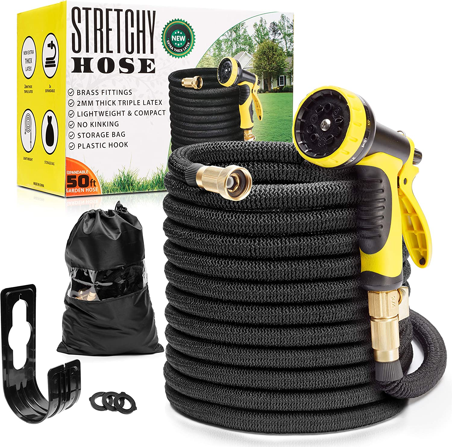 "Expandable Garden Hose 50 ft | Lightweight Garden Hose 50 ft | Never Kink Garden Hose 50 ft | Black Leak Proof Retractable Hose 50 ft | Solid 3/4"" Brass Connectors 
