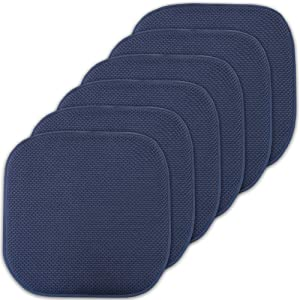 """Sweet Home Collection Cushion Memory Foam Chair Pads Honeycomb Nonslip Back Seat Cover 16"""" x 16"""" 6 Pack Navy Blue"""