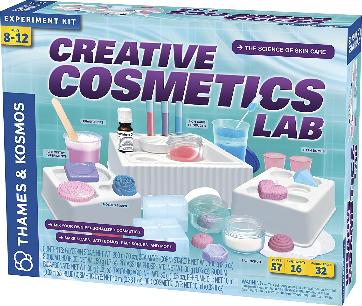 90e2f8024 Thames & Kosmos Creative Cosmetics Lab Science Kit | 16 Experiments  Including Soaps, Bath Bombs, Salt Scrubs | Toy of The Year Finalist |  Parents' Choice ...