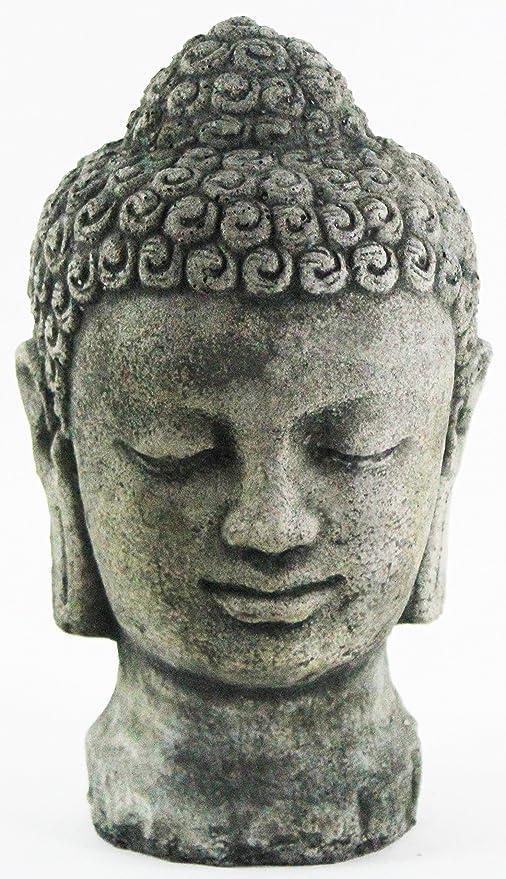Amazon Com Buddha Head Concrete Garden Statue Garden Outdoor