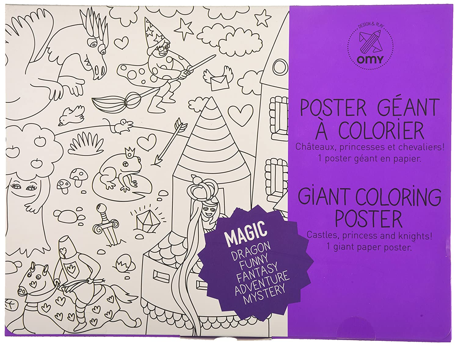 Coloriage Geant Chevalier.Omy Design Play Poster Geant A Colorier Theme Magie Amazon Fr
