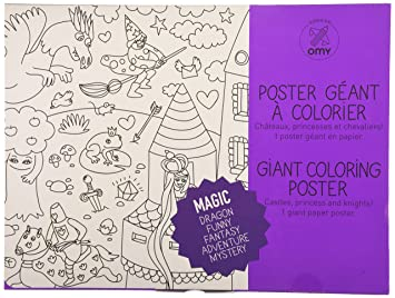 Coloriage Dinosaure Qui Se Battent.Omy Design Play Poster Geant A Colorier Theme Magie Amazon Fr