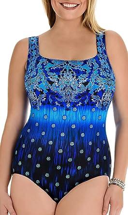 15d68d1188 Longitude Swimwear Women's Gilded Age X-Back Tank Swimsuit One Piece Blue  ...