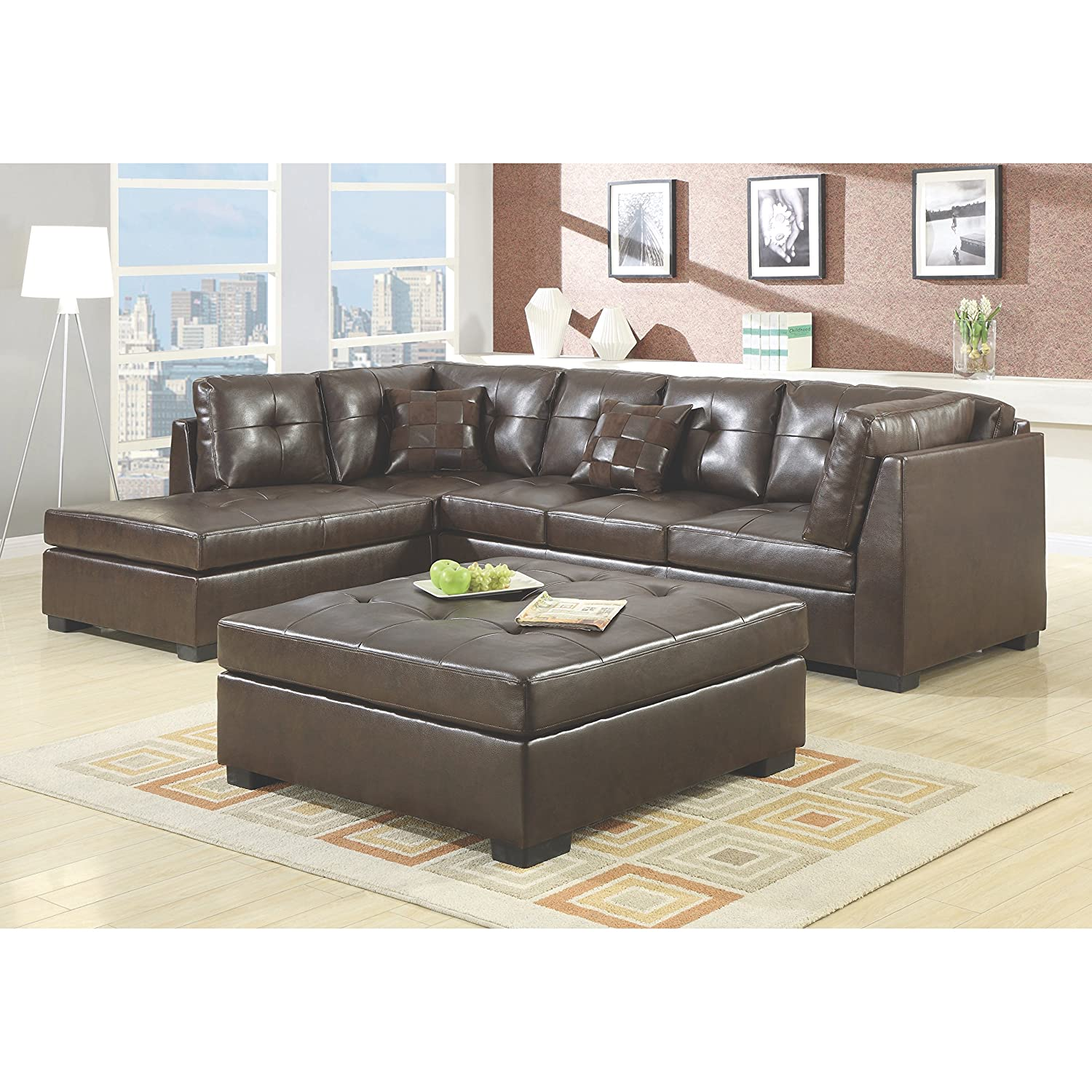 Amazon.com Coaster Home Furnishings 500686 Casual Sectional Sofa Brown Kitchen u0026 Dining  sc 1 st  Amazon.com : sectional leather furniture - Sectionals, Sofas & Couches