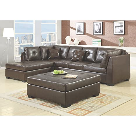 Darie Sectional Sofa with Left-Side Chaise Golden Brown