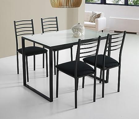 Ensemble Noa Avec Table De Cuisine 4 Chaises En Verre Blanc