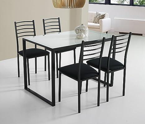 Set Noa di Tavolo da Cucina + 4 Sedie Vetro Bianco: Amazon ...