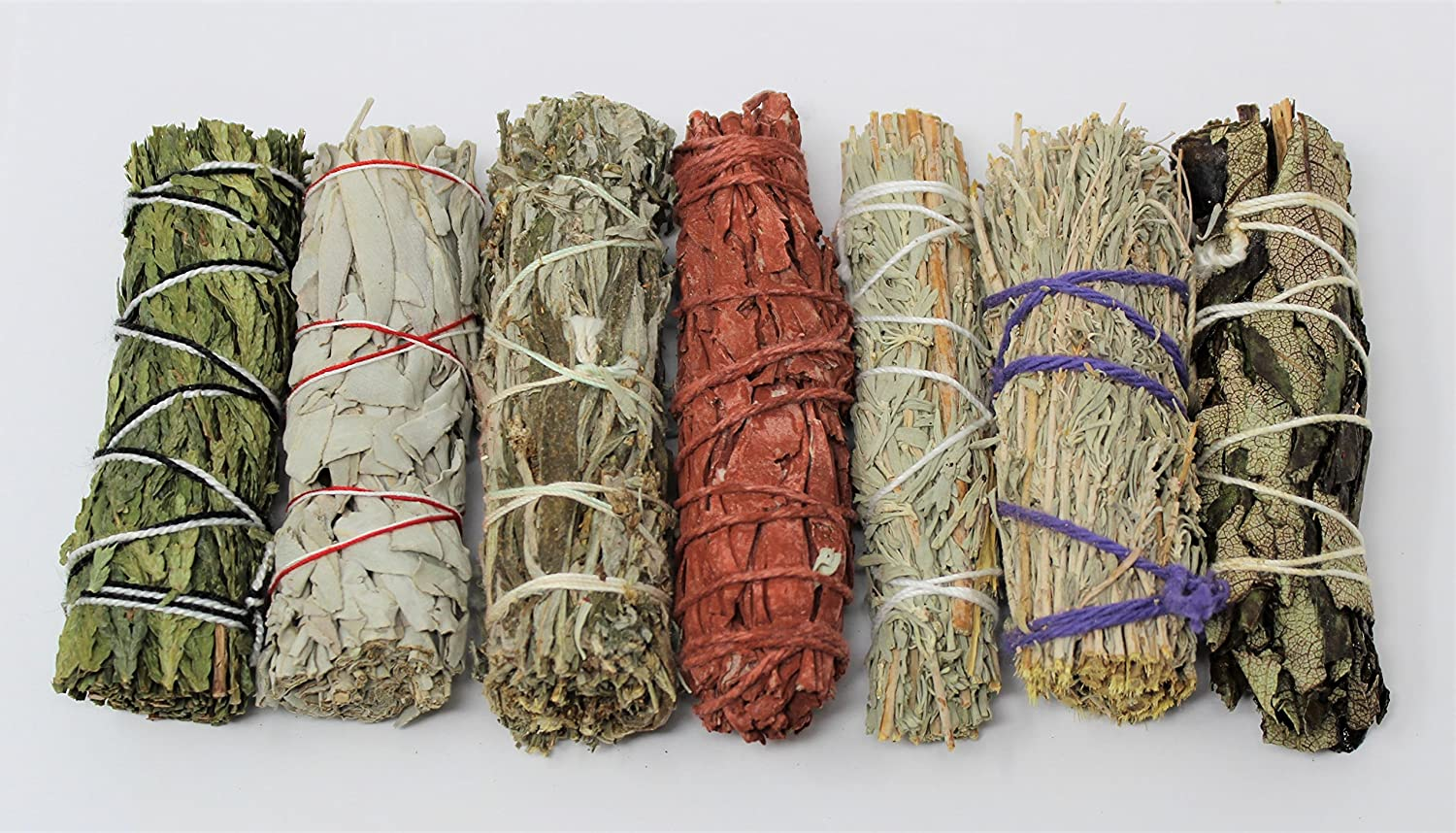 Rainbowrecords239 Set of 7 Sage Smudge Stick SAMPLER: White Black Blue Cedar Dragons Blood Desert Yerba Santa