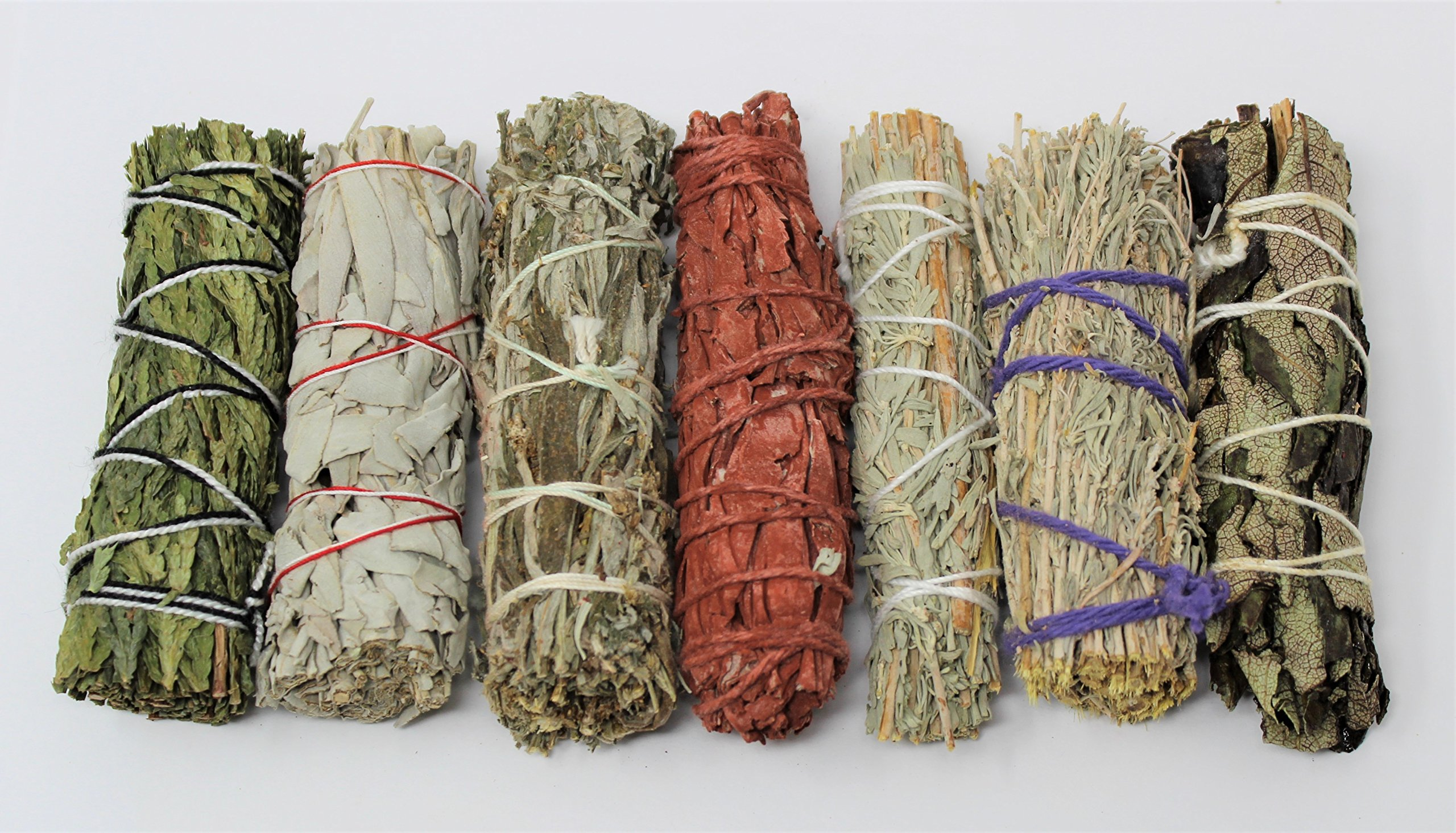 Rainbowrecords239 Set of 7 Sage Smudge Stick SAMPLER: White Black Blue Cedar Dragons Blood Desert Yerba Santa by Rainbowrecords239 (Image #1)