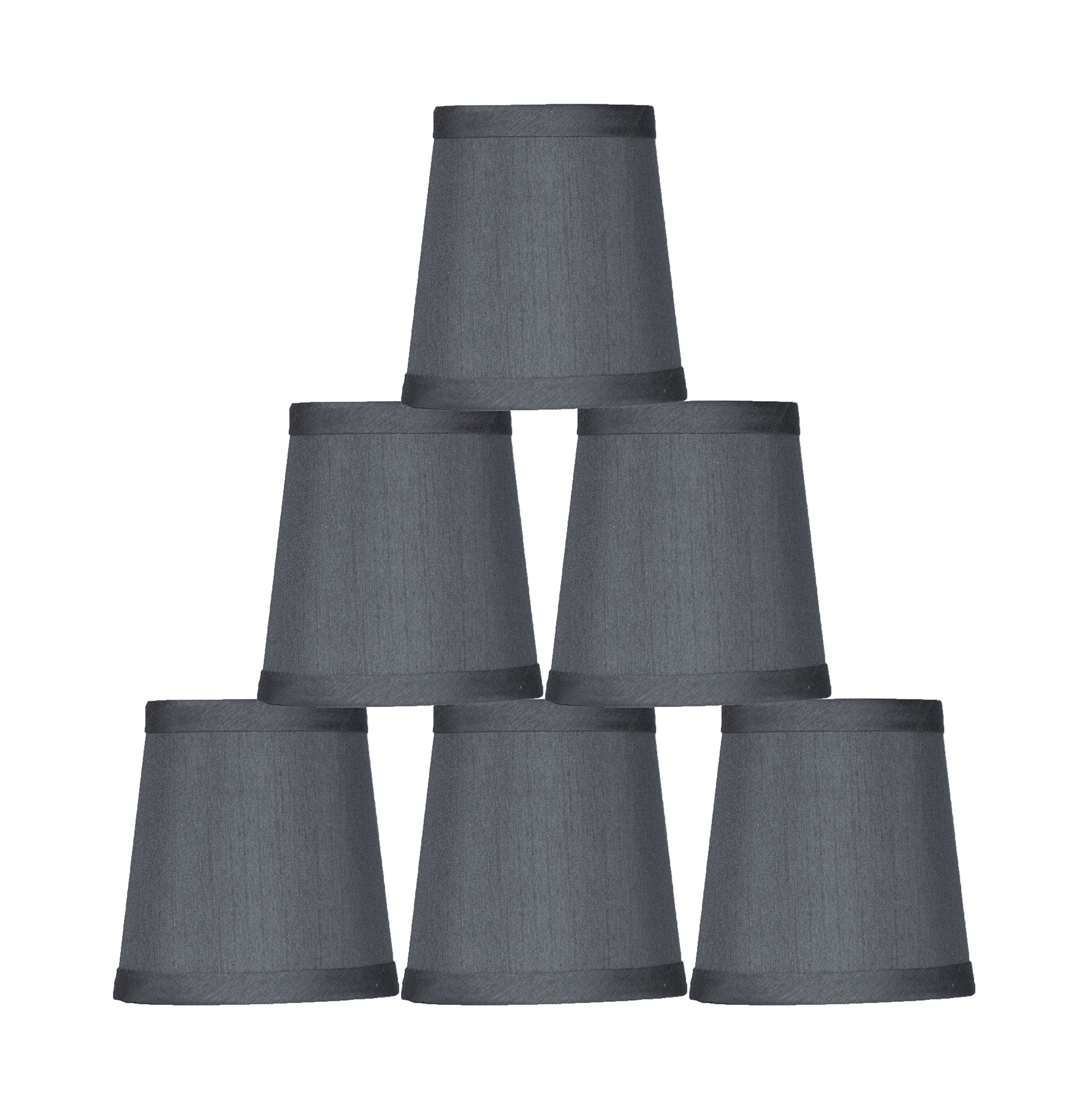 Urbanest Gray Mini Chandelier Lamp Shade, 3x4x4'', Hardback, Clip On, Set of 6 by Urbanest