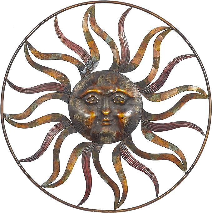 Deco 79 97917 Sun Face Wall Decor 36 Diameter Textured Bronze Finish Home Kitchen