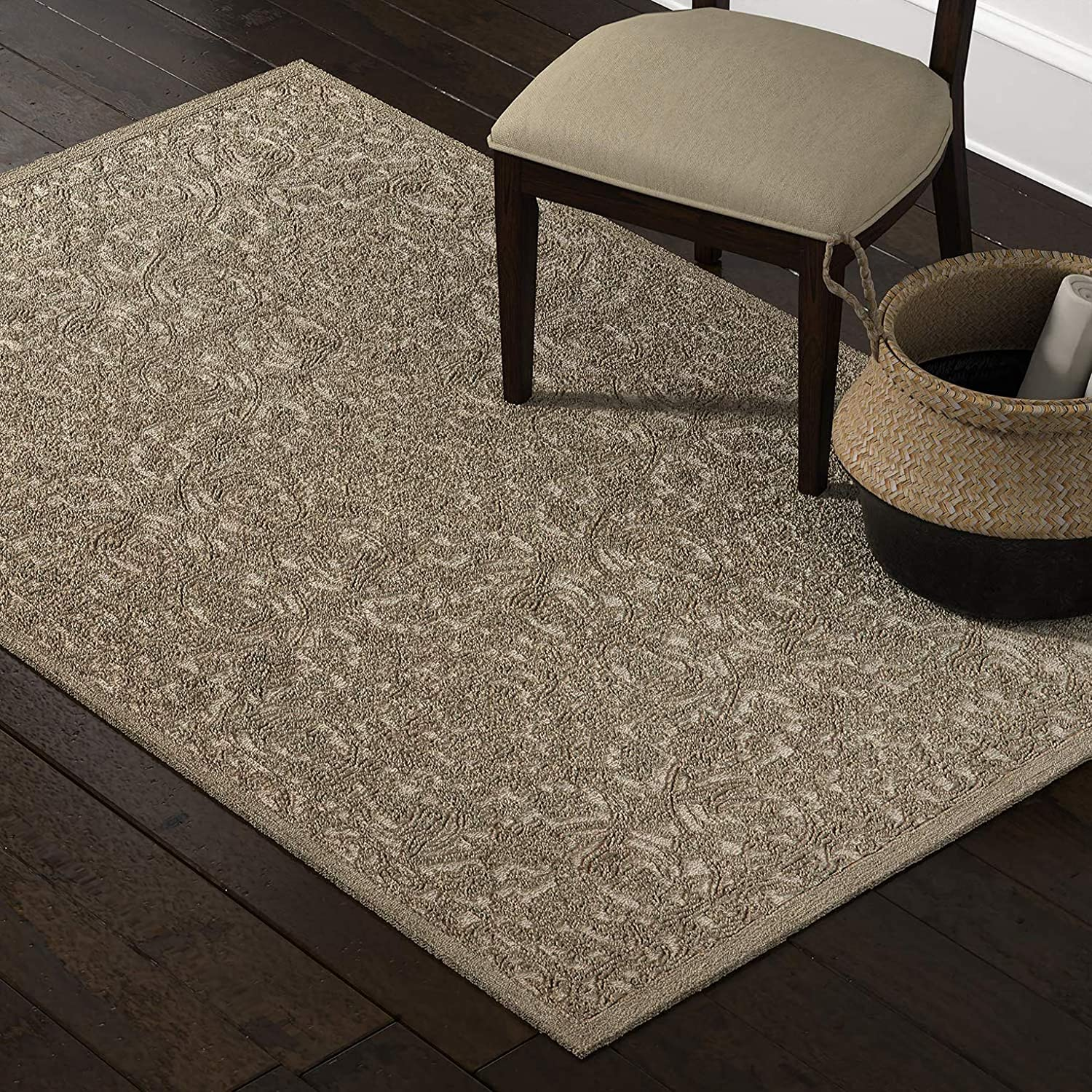 Amazon Brand – Stone & Beam Floral Wool Area Rug, 5 x 8 Foot, Taupe