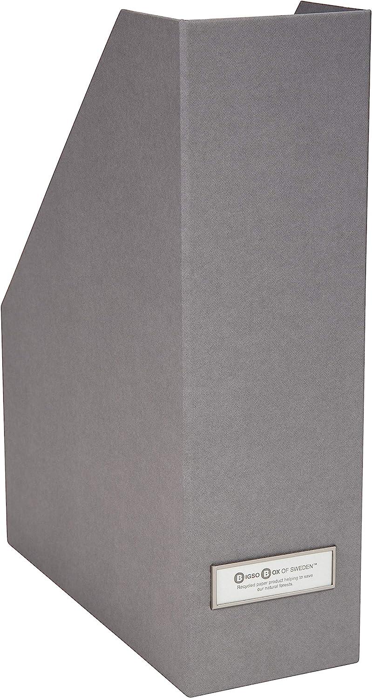 Bigso Viktoria Fiberboard Thin Label Frame Magazine Organizer, 12.7 x 4 x 9.7 in, Grey