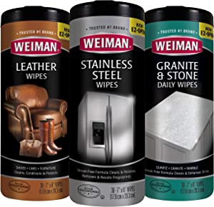 Weiman Wipes Variety (3 Pack) - Stainless Steel, Leather, and Granite Non-Toxic Wipes - 90 Wipes