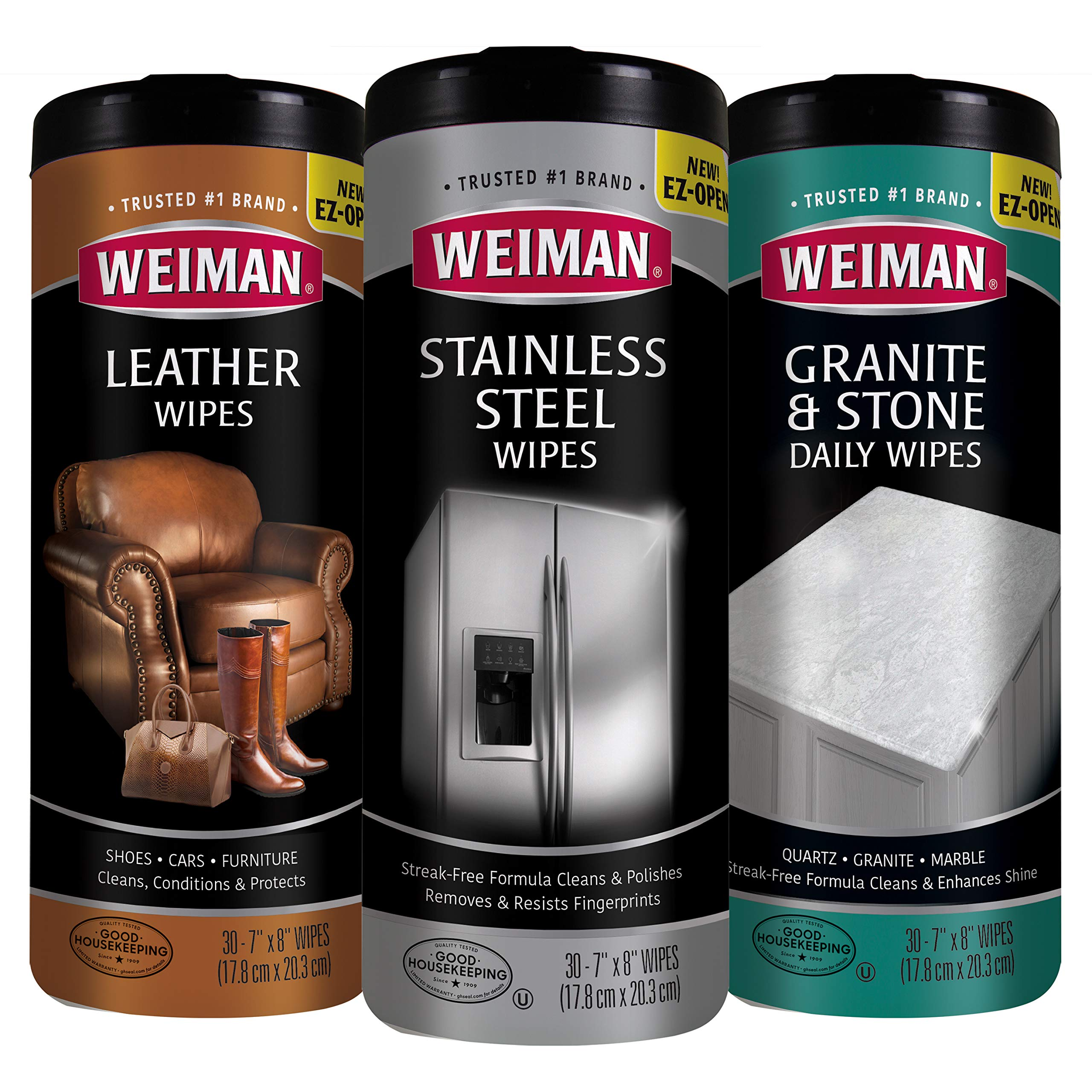 Weiman Wipes Variety (3 Pack) - Stainless Steel, Leather, and Granite Non-Toxic Wipes - 90 Wipes by Weiman