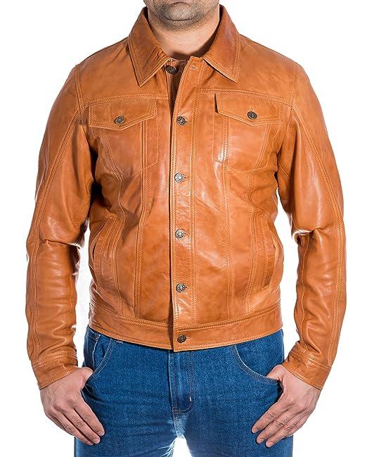Chaqueta para hombre moreno de cuero verdadero de de Levis pantalones vaqueros del dril estilo Equipada: Amazon.es: Ropa y accesorios