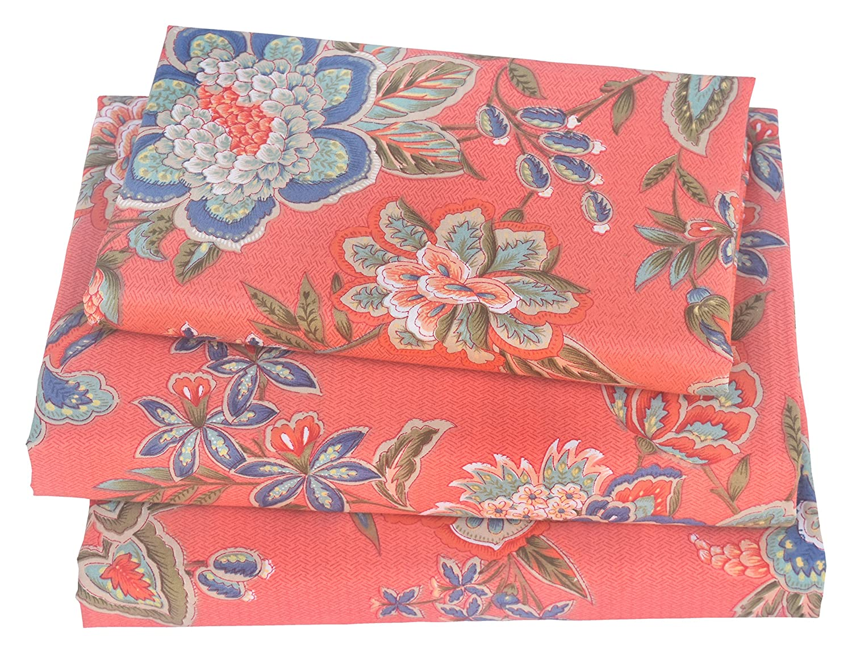 J-pinno Rich Flower Bloom Twin Sheet Set for Kids Girl Children,100% Cotton, Flat Sheet + Fitted Sheet