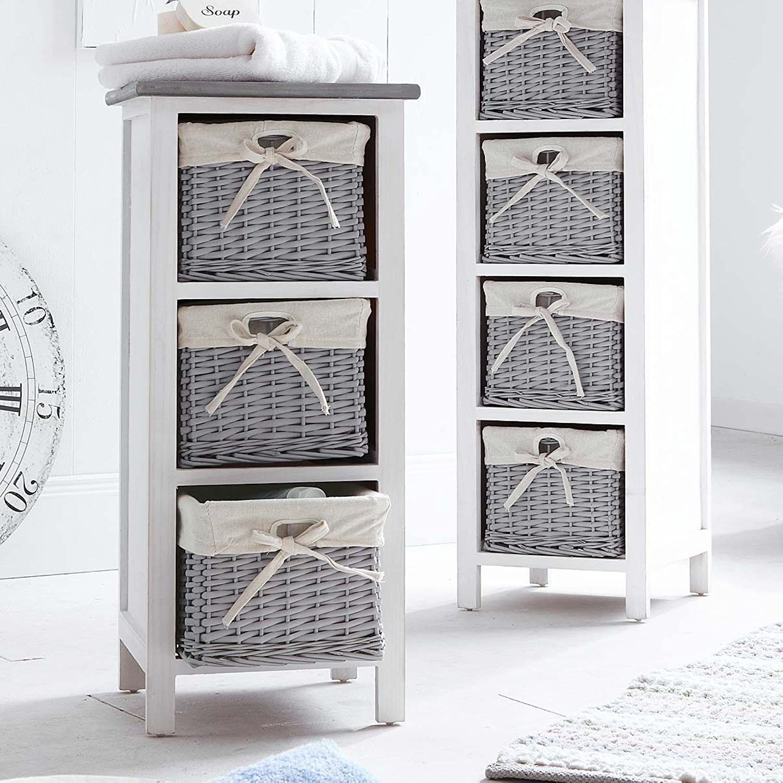 Wicker Basket Cabinet White Wooden Chest Of Drawers Storage Cabinet Wardrobe Cupboard