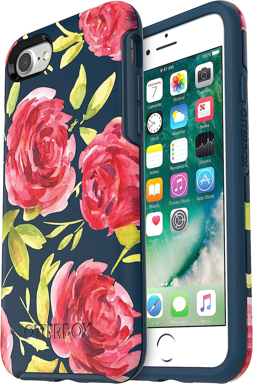 OtterBox SYMMETRY SERIES Case for iPhone SE (2nd gen - 2020) and iPhone 8/7 (NOT PLUS) - Retail Packaging - BOUQUET (BLAZER BLUE/BLAZER BLUE/BOUQUET GRAPHIC)